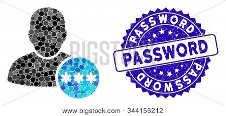 Collage User Password Icon And Rubber Stamp Seal With Password Caption. Mosaic Vector Is Designed Wi