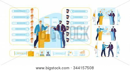 Politicians Constructor Characters And Scenes Set. Man In Formal Clothes Having Speech Standing At T