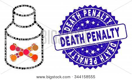 Mosaic Poison Bottle Icon And Grunge Stamp Seal With Death Penalty Phrase. Mosaic Vector Is Composed