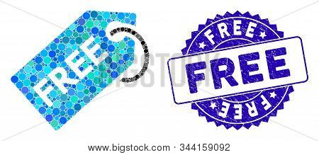 Collage Free Tag Icon And Corroded Stamp Seal With Free Text. Mosaic Vector Is Designed With Free Ta