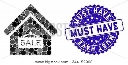 Collage Sale Building Icon And Distressed Stamp Seal With Must Have Caption. Mosaic Vector Is Design