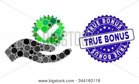 Collage True Bonus Icon And Grunge Stamp Seal With True Bonus Text. Mosaic Vector Is Created With Tr