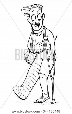 Scared Man With Broken Leg And Arm Trying To Run Away. Cartoon Character. Vector Illustration
