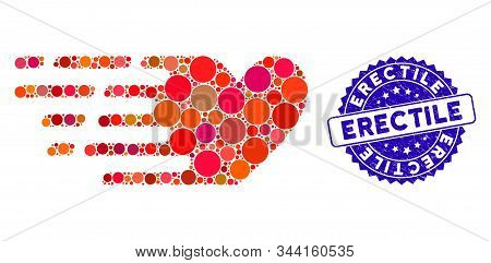 Mosaic Fast Love Icon And Distressed Stamp Seal With Erectile Text. Mosaic Vector Is Formed With Fas