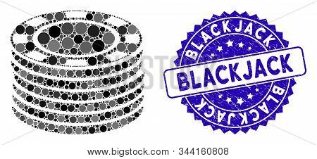Mosaic Casino Chip Stack Icon And Corroded Stamp Seal With Blackjack Phrase. Mosaic Vector Is Create