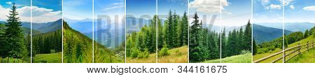 Panoramic collage of several landscape photos mountain massif for glass panel.