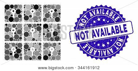 Collage Lockers Icon And Grunge Stamp Seal With Not Available Phrase. Mosaic Vector Is Created With