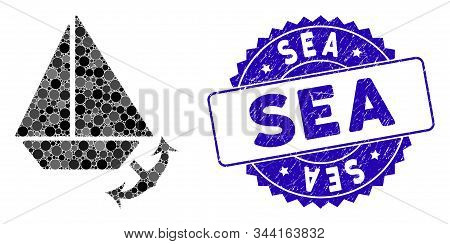 Collage Seaport Icon And Rubber Stamp Watermark With Sea Phrase. Mosaic Vector Is Created With Seapo