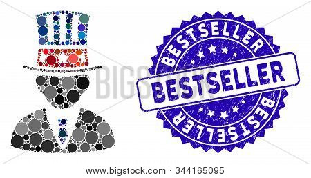 Mosaic American Capitalist Icon And Distressed Stamp Seal With Bestseller Phrase. Mosaic Vector Is C