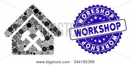 Mosaic Workshop Icon And Corroded Stamp Watermark With Workshop Caption. Mosaic Vector Is Formed Wit