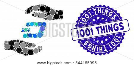 Mosaic Dash Care Hands Icon And Grunge Stamp Seal With 1001 Things Phrase. Mosaic Vector Is Composed