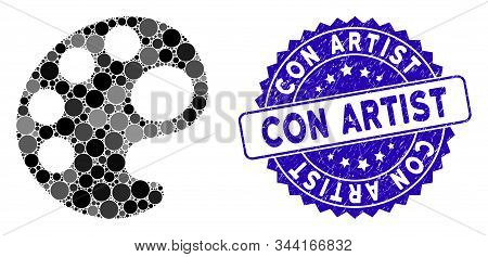 Mosaic Palette Icon And Grunge Stamp Seal With Con Artist Text. Mosaic Vector Is Composed With Palet