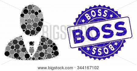Mosaic Boss Icon And Rubber Stamp Watermark With Boss Caption. Mosaic Vector Is Created With Boss Ic