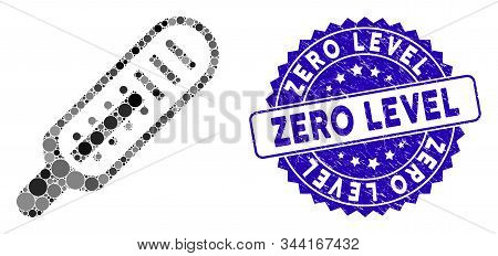 Mosaic Mercury Thermometer Icon And Corroded Stamp Watermark With Zero Level Phrase. Mosaic Vector I
