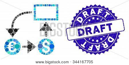 Mosaic Cashflow Icon And Grunge Stamp Seal With Draft Text. Mosaic Vector Is Composed From Cashflow