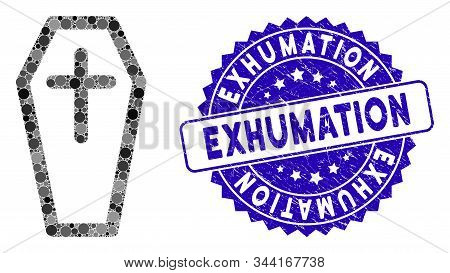 Mosaic Christian Coffin Icon And Grunge Stamp Seal With Exhumation Caption. Mosaic Vector Is Compose