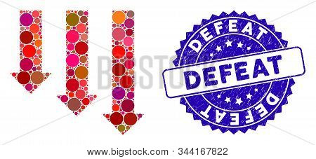 Mosaic Crisis Direction Icon And Corroded Stamp Seal With Defeat Phrase. Mosaic Vector Is Designed W