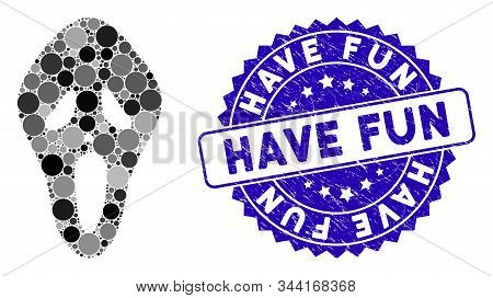 Mosaic Scary Mask Icon And Distressed Stamp Seal With Have Fun Phrase. Mosaic Vector Is Designed Fro