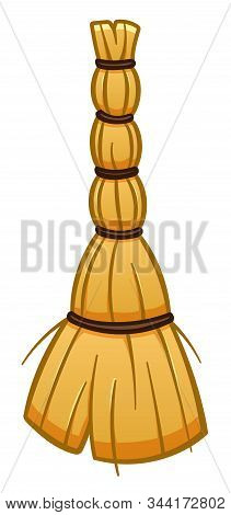 Cartoon Isolated Besom For Cleaning On White Background