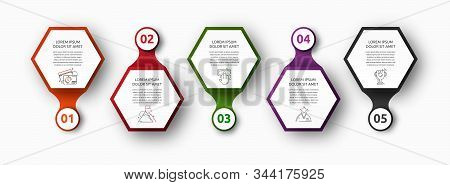 Vector Infographic With 5 Hexagons And Circles. Used For Five Diagrams, Graph, Flowchart, Timeline,