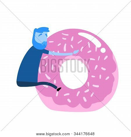 Cartoon Man Clinging On To Giant Donut. Unhealthy Lifestyle, Poor Food Choice. Cartoon Design Icon.
