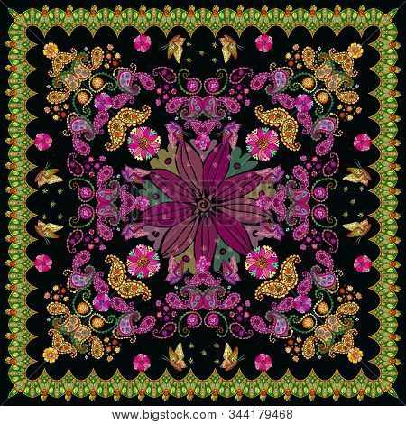 Beautiful Scarf With Floral And Paisley Ornament And Decorative Border. Lovely Tablecloth. Bandana P