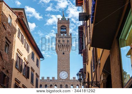 The Palazzo Vecchio A Massive Romanesque Fortress Palace, Is The Town Hall Of Florence, Italy