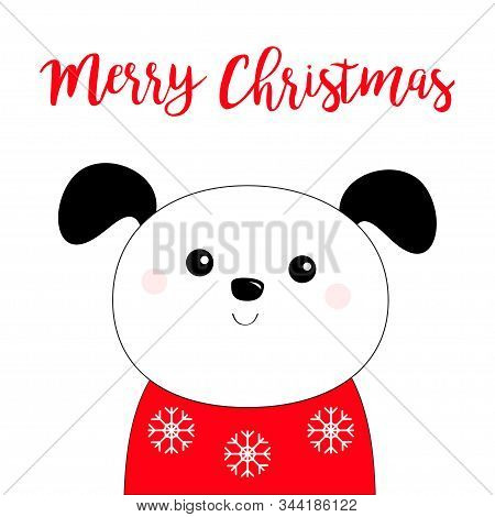 Merry Christmas. Dog Puppy Face Head Black Line Icon. Red Scarf And Ugly Snowflake Sweater. Hello Wi