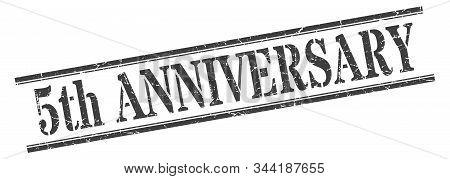 5th Anniversary Stamp. 5th Anniversary Square Grunge Sign. 5th Anniversary