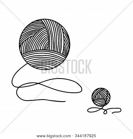 Skein Of Yarn For Knitting. The Object Is Hand-drawn And Isolated On A White Background. Black And W