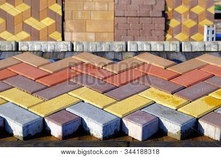 Bricks Of Pavement  At Construction Site. Warehouse Paving Slabs For Laying Road Construction. Const
