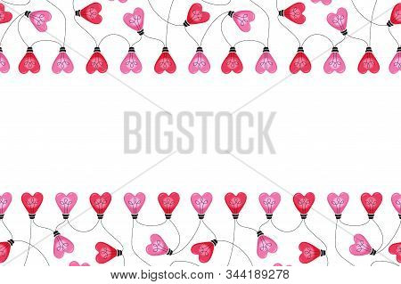 Valentines Day Holiday Heart Shape String Lights Isolated On White Background Vector Seamless Horizo