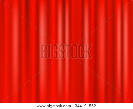Red Curtain Scene. 3d Realistic Curtain Curtain On The Stage Of The Theater. Vector Illustration
