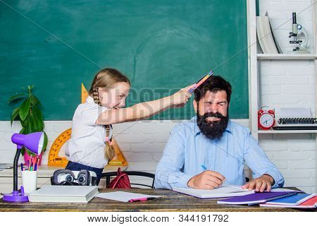 Homeschooling With Father. Reward And Punishment Principle. Help Study. Discipline And Upbringing. M