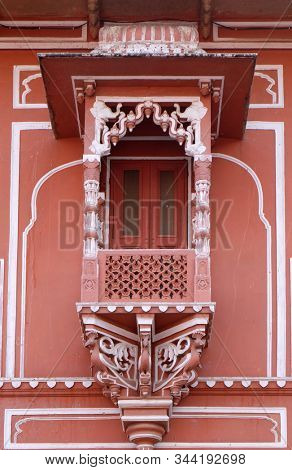 JAIPUR, INDIA - FEBRUARY 16: Architectural detail in Jaipur City Palace, Rajasthan, India. Palace was the seat of the Maharaja of Jaipur, the head of the Kachwaha Rajput clan, on February, 16, 2016.
