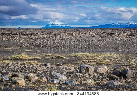 View From A Road To Hrossaborg Crater With Herdubreid Toya Volcano In Iceland