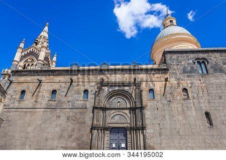 Side Wall Of Santa Maria Assunta Church In Randazzo, Small Town On Sicily Island In Italy