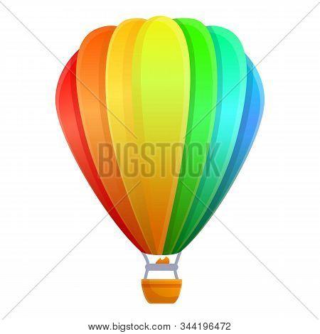 Rainbow Air Balloon Icon. Cartoon Of Rainbow Air Balloon Vector Icon For Web Design Isolated On Whit