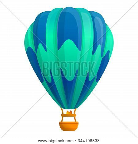 Colorful Air Balloon Icon. Cartoon Of Colorful Air Balloon Vector Icon For Web Design Isolated On Wh