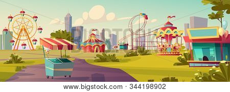 Amusement Park, Carnival Or Festive Fair Cartoon Vector Illustration. Circus Tent Arrow Pointer, Car