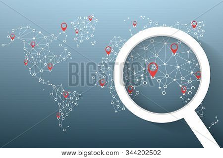 Magnifying Glass Icon Search Location On World Map