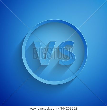 Paper Cut Vs Versus Battle Icon Isolated On Blue Background. Competition Vs Match Game, Martial Batt