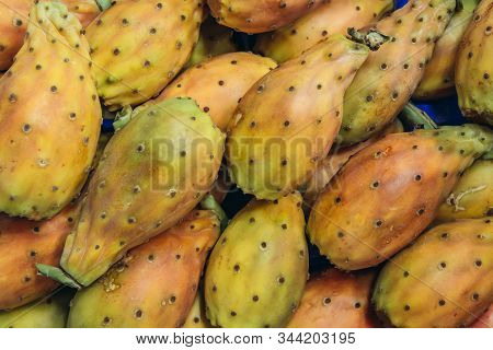 Close Up On A Heap Of India Fig Opuntia Fruits On A Indoor Food Market Called Mercato Delle Erbe In