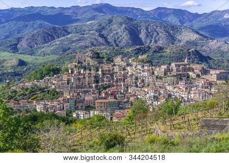 Aerial View On Castiglione Di Sicilia Town On Sicily Island In Italy