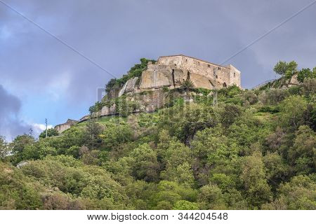 Hill With Castle Ruins Of Castiglione Di Sicilia Town On Sicily Island In Italy