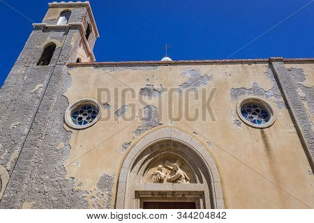 Side View Of Santa Maria Dell Itria Church On The Old Town Of Cefalu City On Sicily Island In Italy