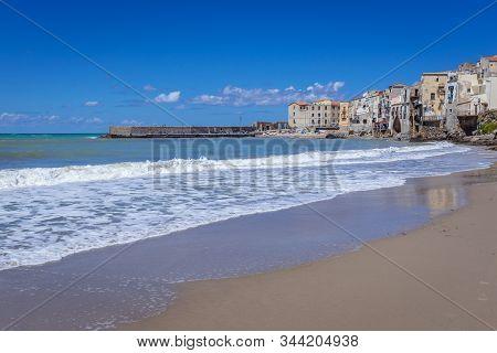 Tyrrhenian Sea Beach In Cefalu City On Sicily Island In Italy