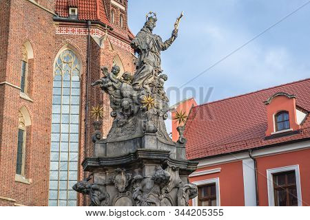 Statue Of John Nepomucene In Front Of Holy Cross And Saint Bartholomew Church In Ostrow Tumski - His
