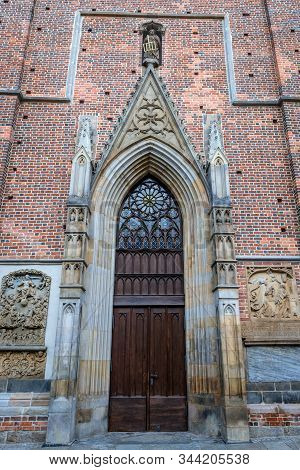 One Of The Portals Of Basilica Of St Elisabeth On The Old Historic Part Of Wroclaw, Capital City Of