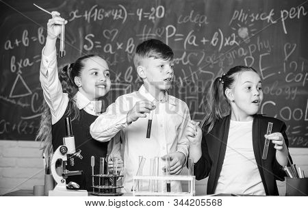 Chemistry Equipment. Chemistry Education. Happy Children. Chemistry Lesson. Students Doing Biology E